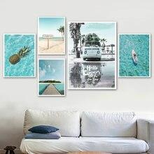 ビーチサーフ海車椰子風景北欧ポスターやプリント壁アートキャンバス絵画の壁の写真装飾