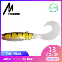 MEREDITH 90mm 110mm Cannibal Curved Tail Fishing Lures Artificial Wobblers Soft Baits Silicone Shad Worm Bass leurre souple