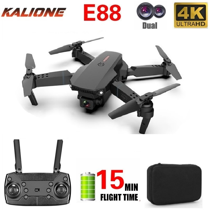 E88 Wifi FPV Foldable RC Drone with 4K HD Camera Follow Altitude Hold one key return drones RC Helicopter Mini Aircraft dron Toy