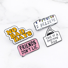 Zhijia high quality Enamel pin Cute Message Lapel Motivate people Famous saying Badges Brooches for Women Quote Jewelry
