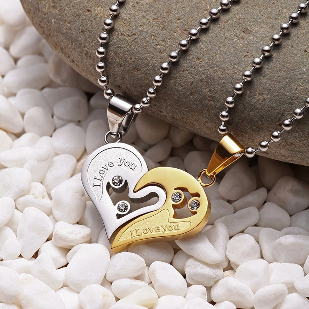 1 pair Fashion Couple Heart Shape I Love You Pendant Necklace Unisex Lovers Couples Jewelry Fashion Gifts Accessories
