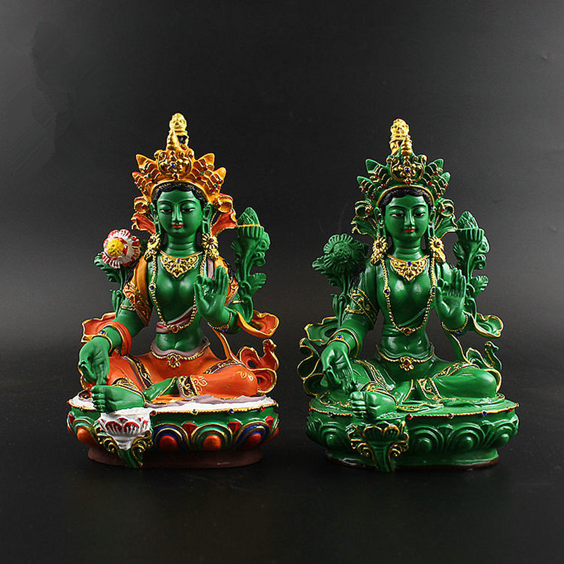 Big 21.5cm Resin Green/Colored Painted Talisman Efficacious Family Protection Green Tara Bodhisattva Buddha Statue Figurine