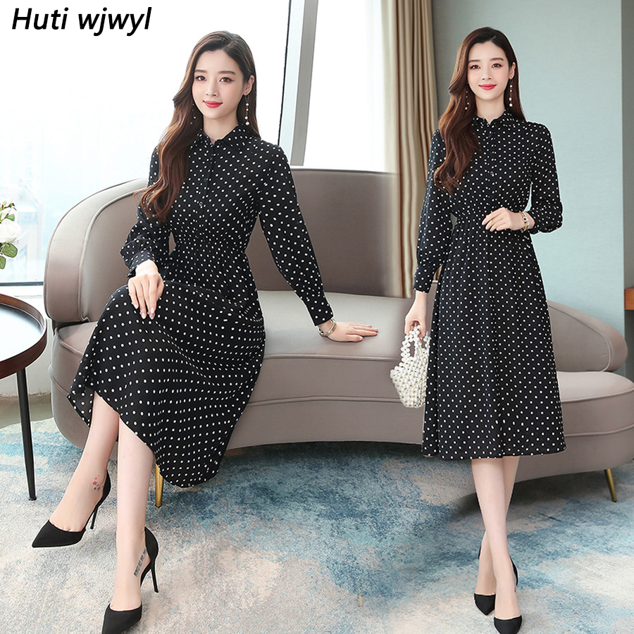 2019 Vintage Black Dot Chic Midi Dresses Autumn Winter Femal Print Beach Long Sleeve Dress Elegant Women Bodycon Party Vestidos