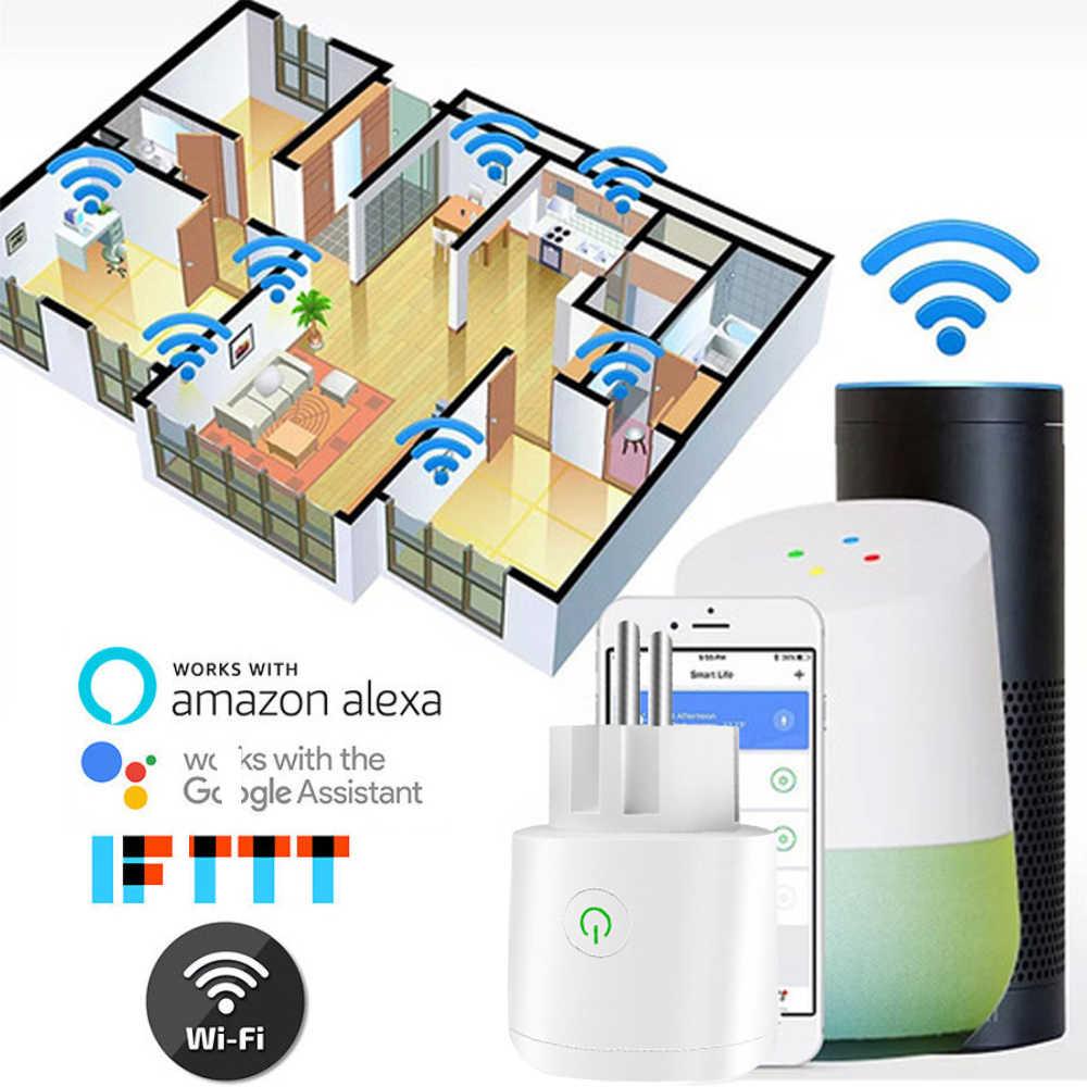 Inteligentna wtyczka inteligentne gniazdo WiFi zasilania monitora ue wtyczka współpracuje z Google domu Mini Alexa IFTTT