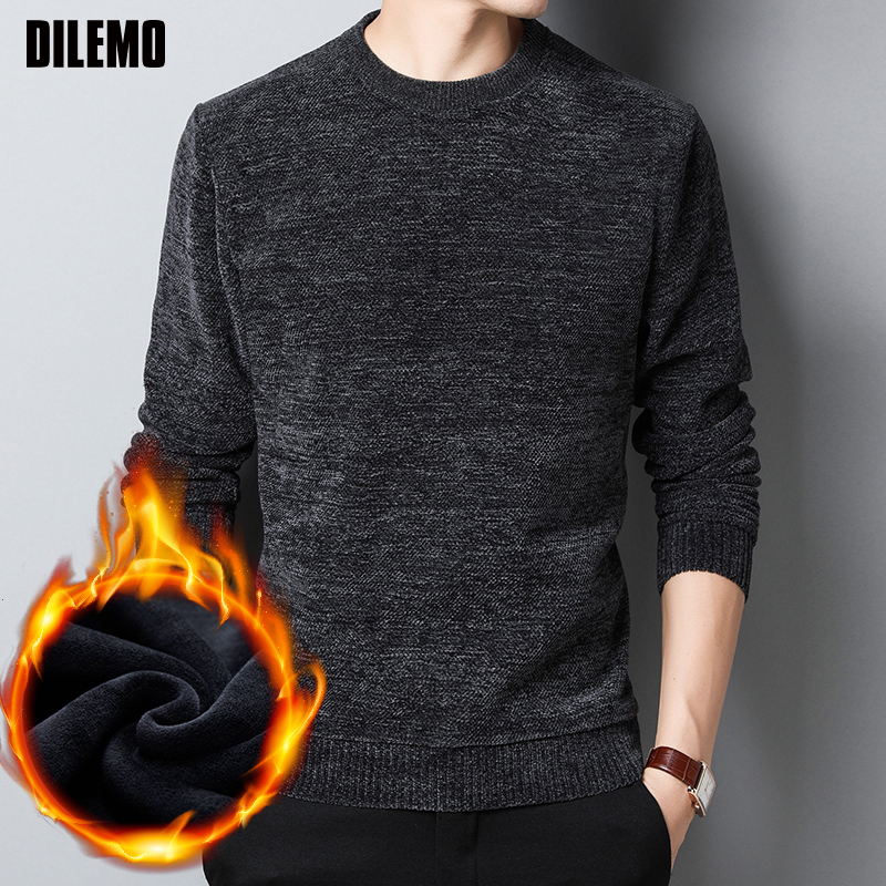 2019 New Thick Velvet Fashion Brand Sweaters Men Pullover Warm Slim Fit Jumpers Knitting Winter Korean Style Casual Men Clothes