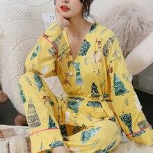 Women Pajamas Set Milk Silk Cute pyjamas women 2 Peices Sleepwear For Long Sleeves silk pajama set Winter