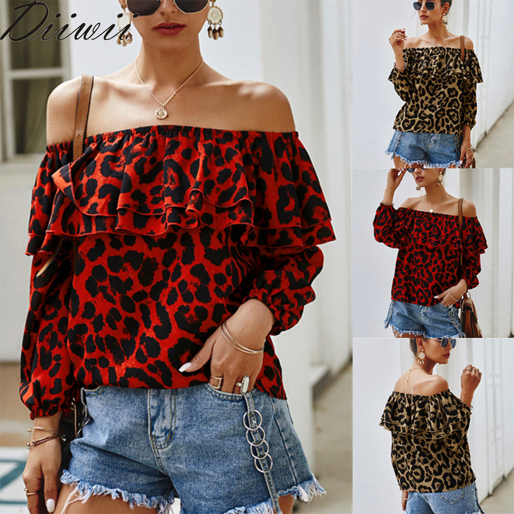 European And American Fashion Elements Leopard Print One-Word Shoulder Dress New 7-Point Sleeve Women's T-Shirt 1