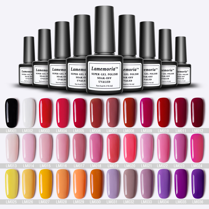 8ml Pure Color Gel Polish Nail Manicure Semi Permanent Vernis Top Coat UV LED Gel Varnish Soak Off Nail Gel Pink Blue Nude