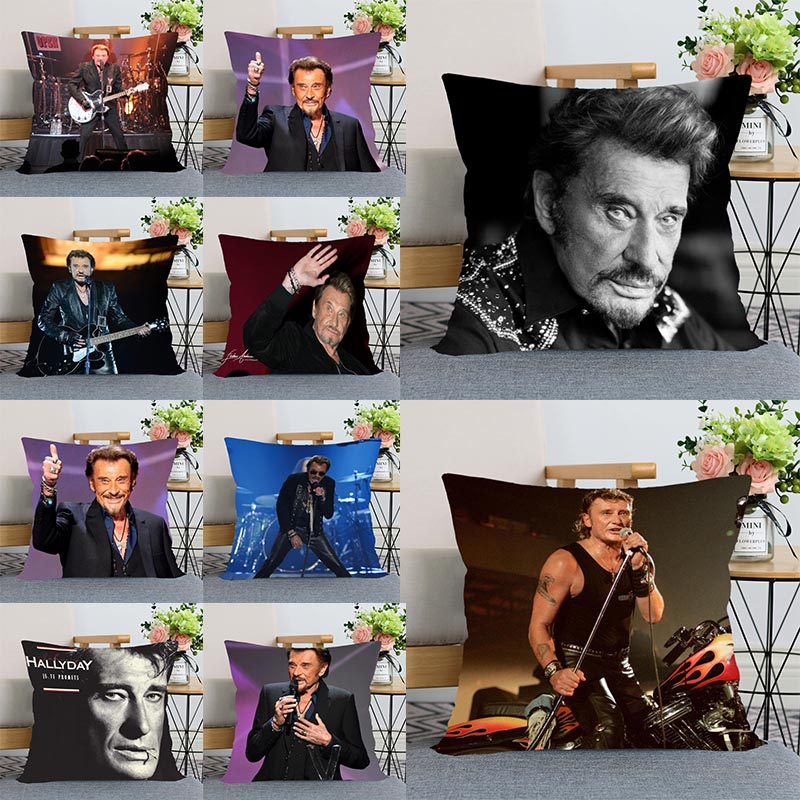 HEARMNY Johnny Hallyday Pillow Cover Bedroom Home Office Decorative Pillowcase Square Zipper Wedding Pillow Cases Satin Fabric