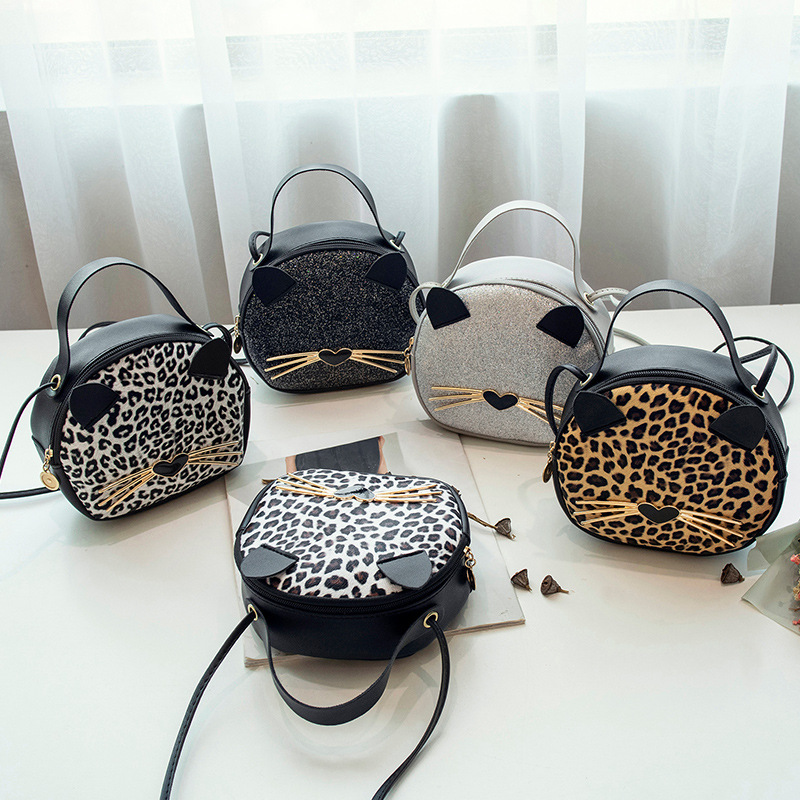 Cute Cat Shoulder Bags For Women 2019 Leopard Print Crossbody Bag Mini Handbag PU Leather Phone Coin Purse Round Female Lady Bag