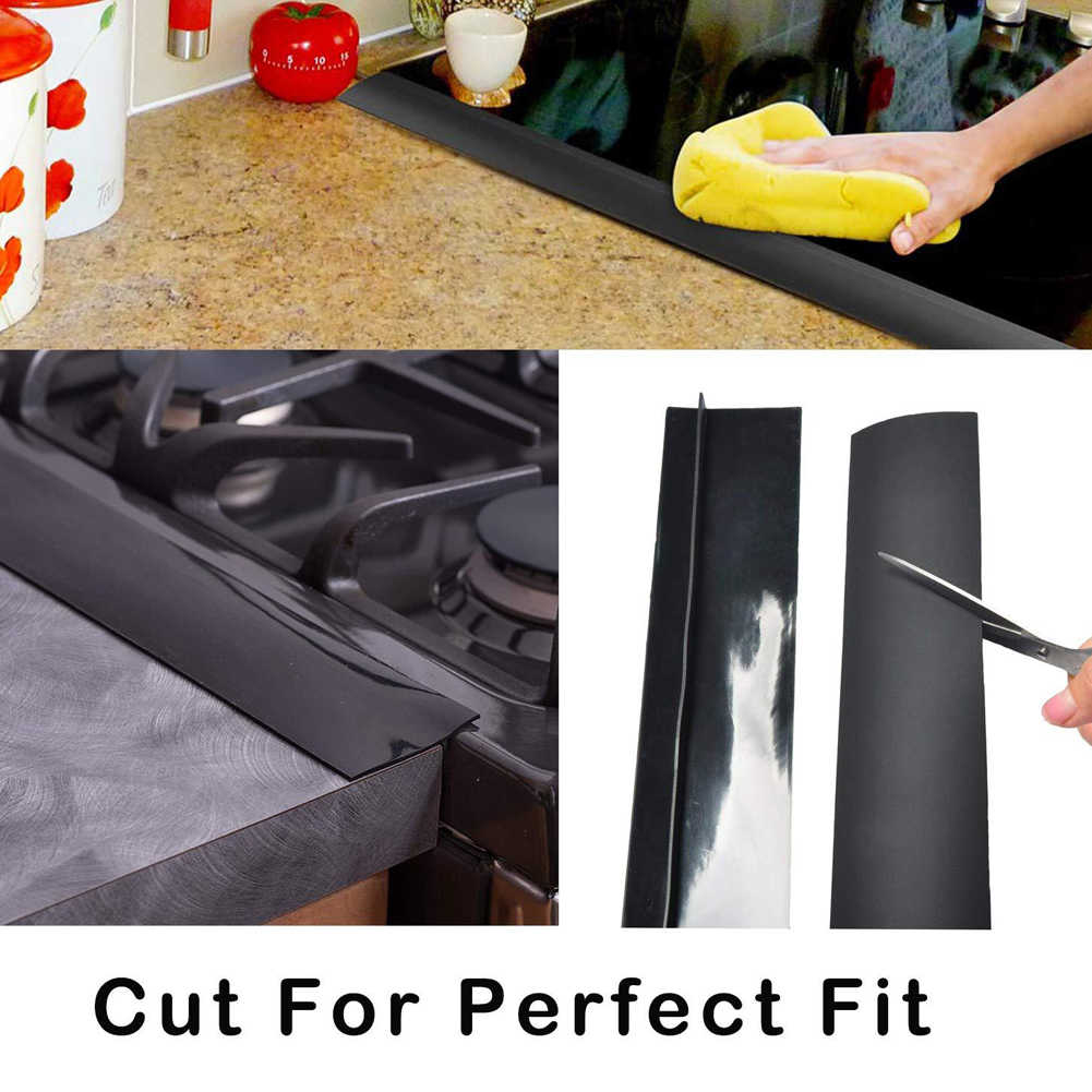 Kitchen Silicone Stove Counter Gap Cover Heat Resistant Wide & Long Gap Filler Seals Spills Between Counter Oil Dust Water Seal