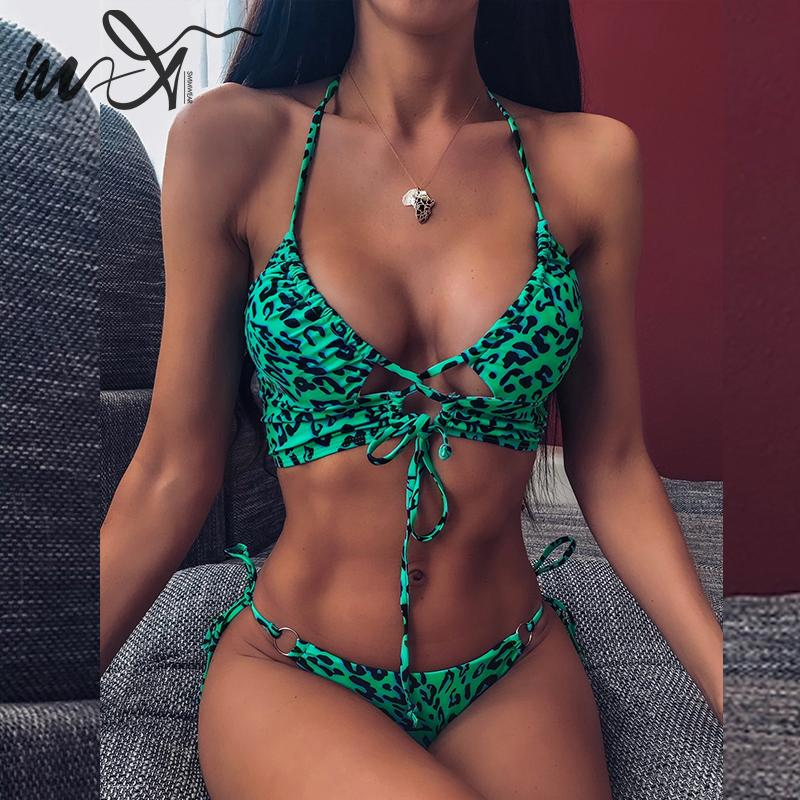 In-X Leopard swimsuit female Sexy string lace up bikini 2019 High cut swimwear women Summer bathers Halter bikini set Swim suit