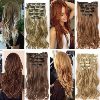 Soowee 7pcs/set Long Curly Black Gray Women Hair Synthetic Hair Clip In Hair Extension Full Head Hairpiece Cabelo 1