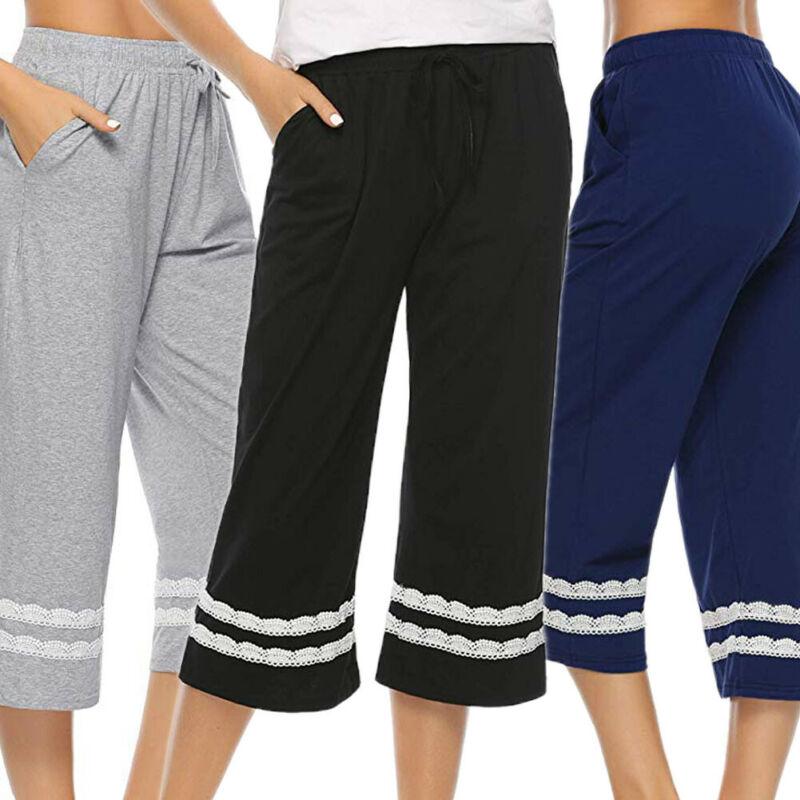 Casual Women Sleepwear Pajama Pants Sleep Cropped Lounge Bottoms Feamle Loose Stripe Lace Sleep Bottoms
