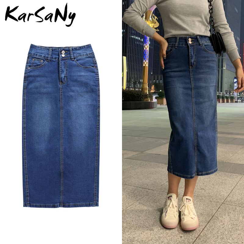 KarSaNy Denim Skirt Long Straight Skirts Womens Summer Blue Vintage Skirt Jeans Women Denim Long Skirts For Women Summer 2020