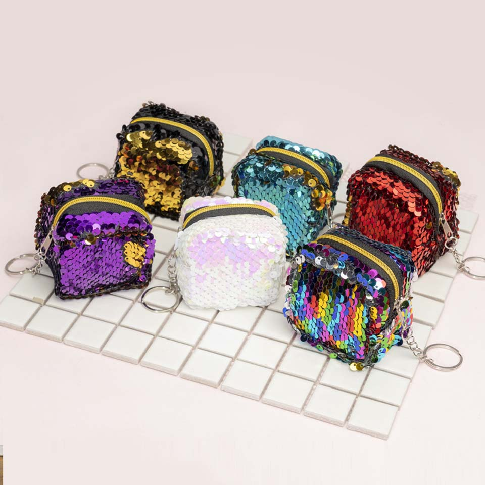 Cube Children's Coin Bag Change Color Sequins Mini Wallet Women Fashion Bling Mini Purse Sequin Bag Key Chain Pouch Small Gift