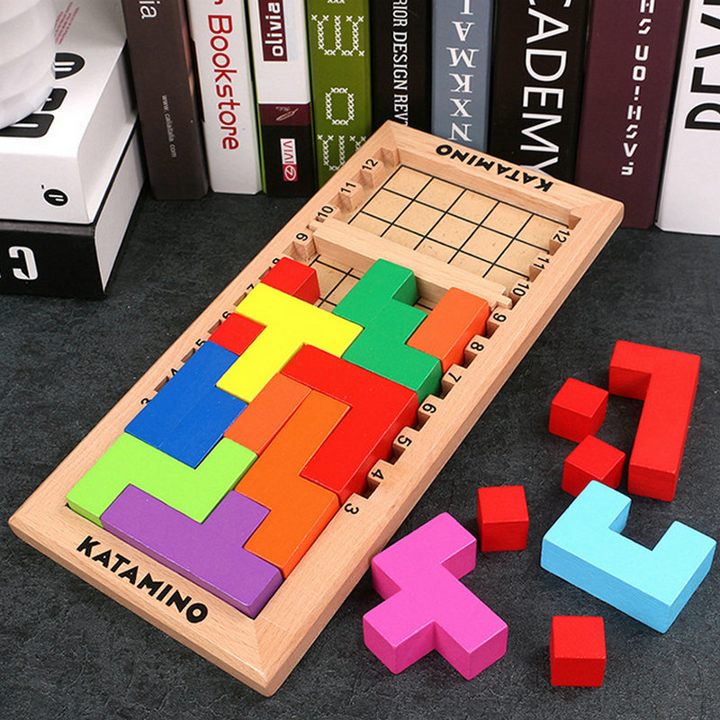 Kids Tetris Puzzles Wood Toys Children Table Thinking Game Cube Blocksood Assembling Puzzles Montessori Educational Wooden Toys