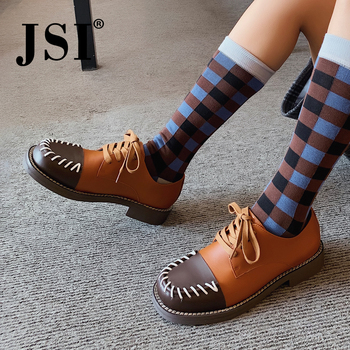 JSI Sewing Decoration Women Flats Mixed Colors High Quality Cow Leather Fashion Casual Shoes Comfortable Square Toe Flats JO455