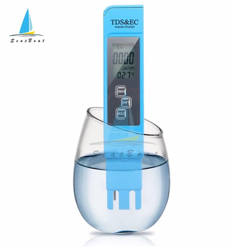 Цифровой измеритель температуры TDS/EC, тестер 3 в 1, термометр, ручка, Измеритель проводимости и качества воды, 0-9990ppm