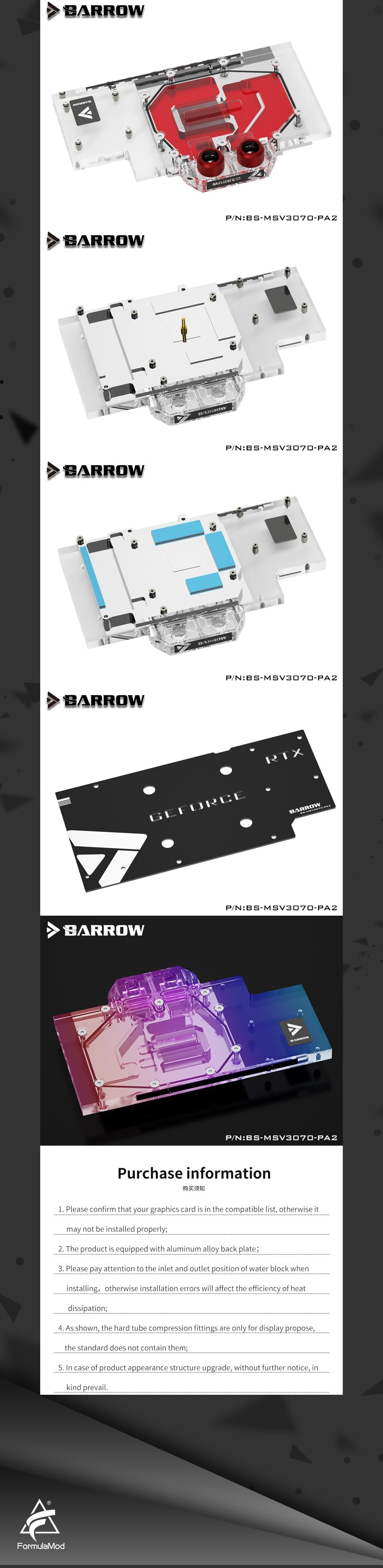 Barrow 3070 GPU Water Block for MSI RTX3070 VENTUS, Full Cover ARGB GPU Cooler, BS-MSV3070-PA2