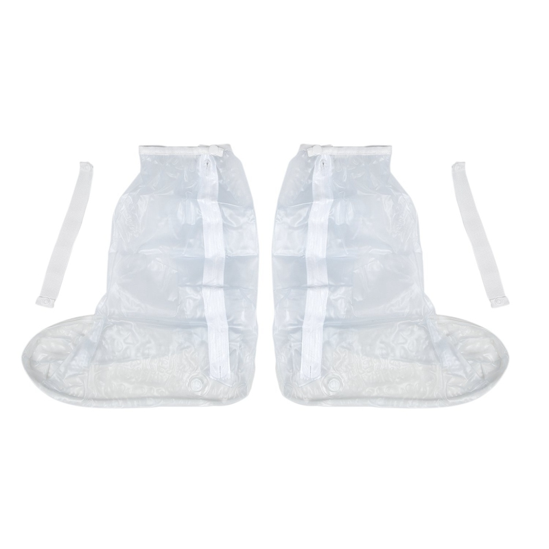 Shoe Cover For Men Women Rain Boots Waterproof With Thickened Edge/Zipper/Elastic Bandage White image