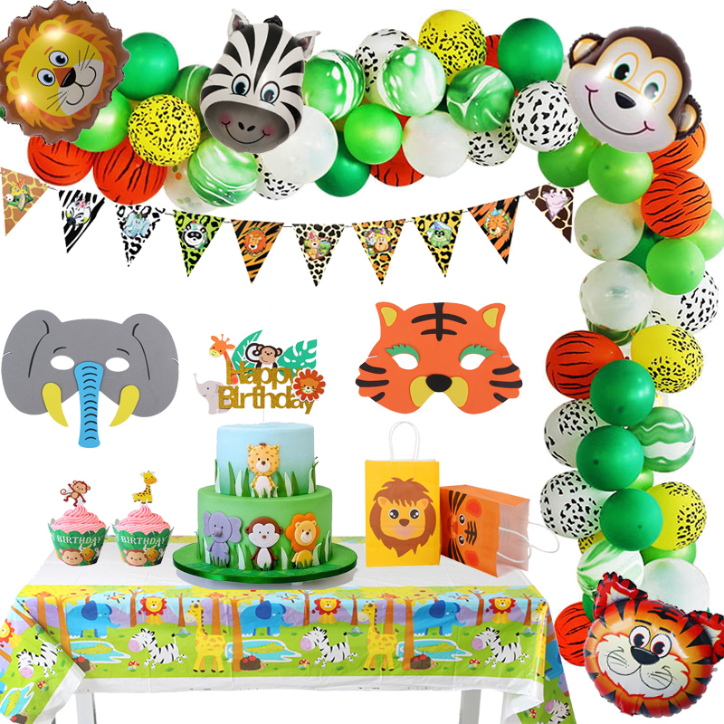 Happy Birthday Party Decorations Jungle Forest Animal Theme Balloon Disposable Tableware Set Kids 1st Party Favors Baby Shower
