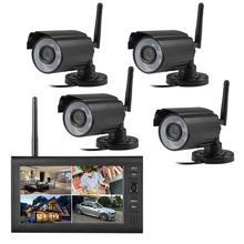"7"" LCD Monitor Home Security 4 Camera System 2.4G Wireless Quad SD Recording PIR Alarm 4CH Digital CCTV DVR Surveillance Kit DIY"
