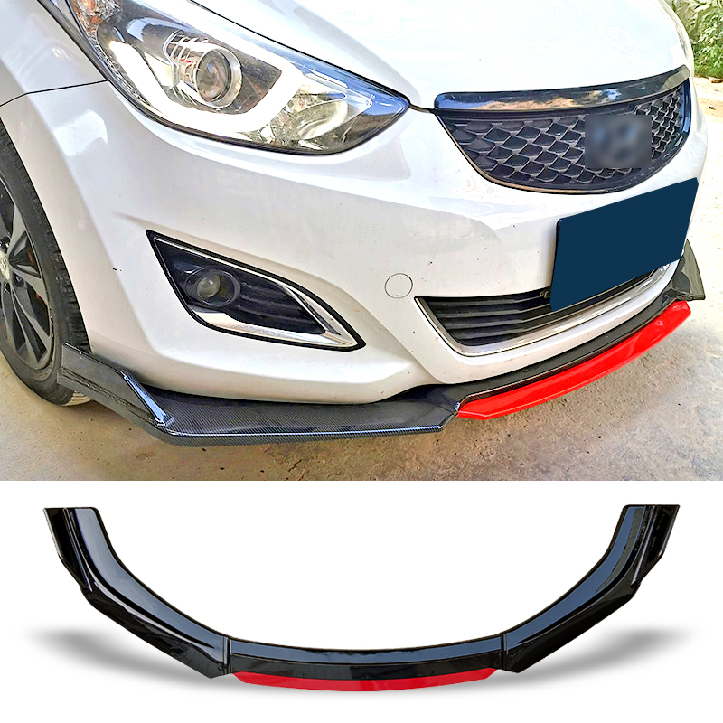 Front Bumper Spoiler Protector Plate Lip Body Kit Carbon Surface Chin Shovel Contrast Color Design For Hyundai Elantra 2012-2015