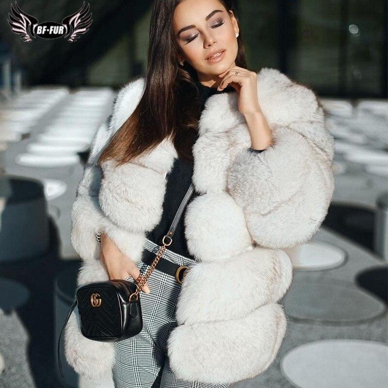 2019 Fashion Real Fox Fur Coat For Women O-Neck Natural Pelt Genuine Blue Fox Fur Jacket Woman Fur Coats Luxury Winter Overcoat