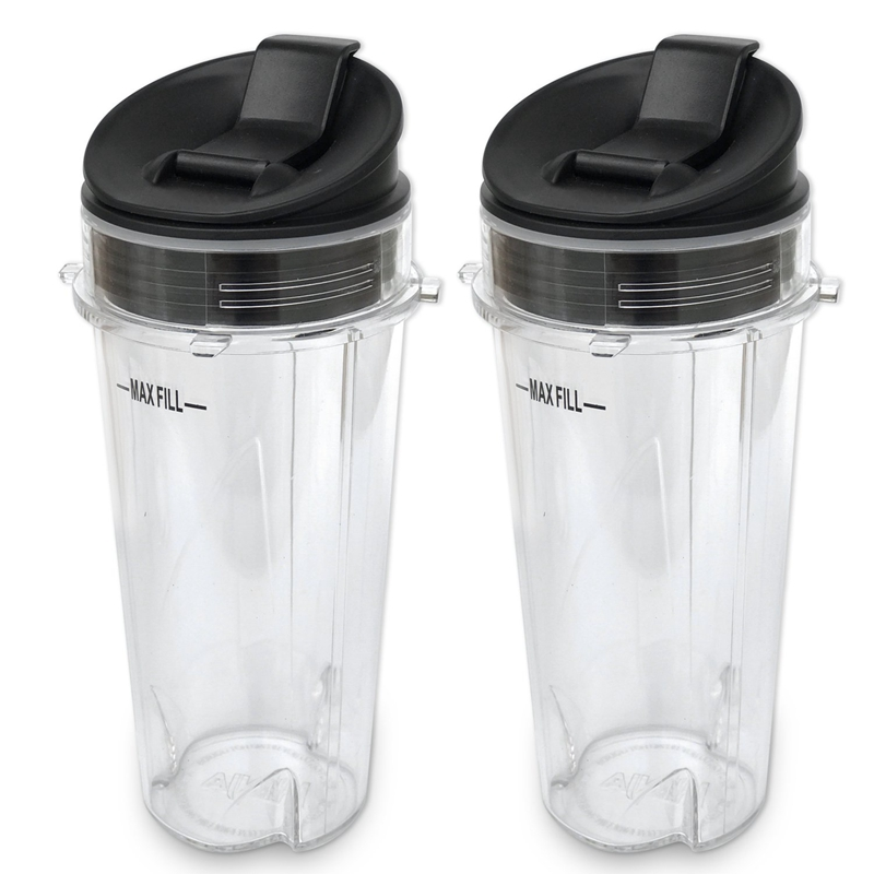Replacement Parts for Nutri Ninja Blender 2 Pack 16 Ounce Single Serve Cup and Lid Fit for Ninja BL770 BL780 BL660 Blenders|  - title=