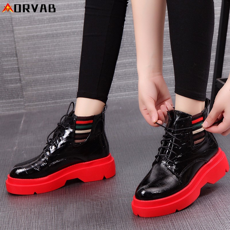 High Top Sneakers 2019 New Fashion Winter Shoes Woman Leather Lace-Up Platform Sneakers Red Black Designer Shoes Women Sneakers