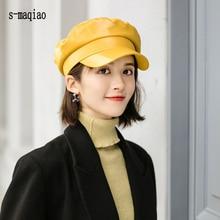 Hats Sailor-Hat Military-Cap Fashion Beret Retro England Solid-Color High-Quality Ladies
