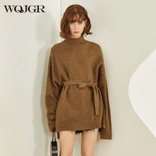 WQJGR Knitted Wool Women Sweater and Pullovers Turtleneck Long sleeve Sashes Thicken Sweaters Fashion Women