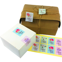 80pcs/pack Thank You Flower Seal Sticker Bakery Package Label DIY Gifts Posted Decoration