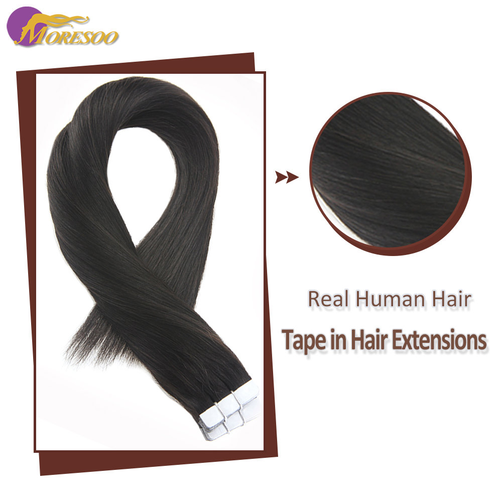 Moresoo Hair Extensions Tape In Real Hair Extensions Machine Remy 12-24inch Off Black #1B Silky Straight Invisible Tape In Hair