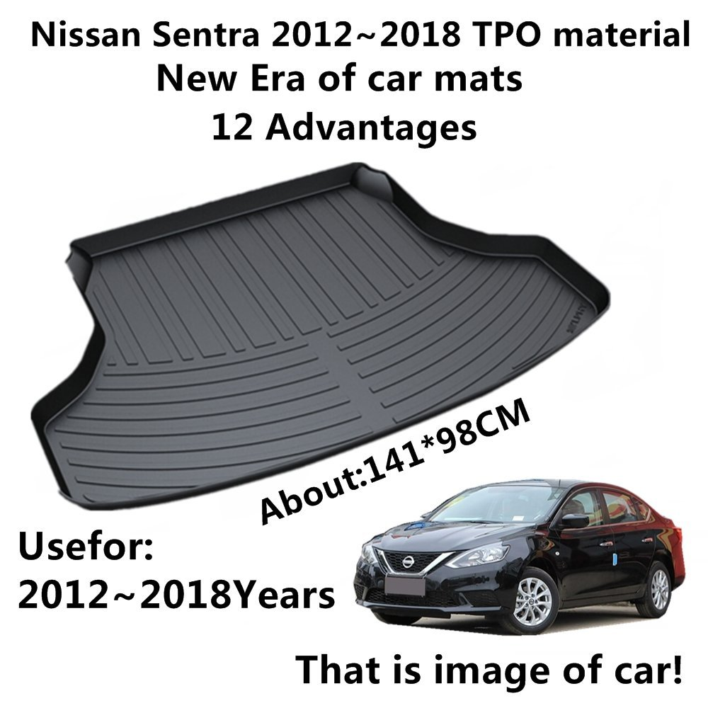 SJ ALL Weather TPO Car Trunk Mats Tail Boot Cargo Liner Cover Rear Tray Luggage Pad For Nissan SYLPHY Sentra 2012 2013 2014-2018