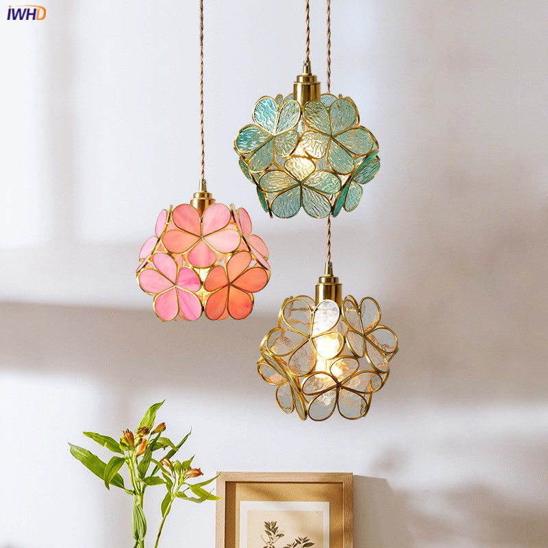 IWHD Nordic Flower Copper Pendant Lighting Fixtures Bedroom Dinning Living Room Glass LED Pendant Light Fixtures Luminaria