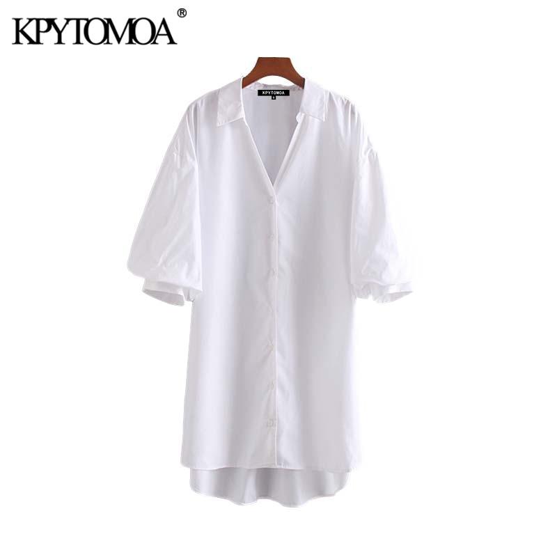 Vintage Stylish Loose Irregular Solid Long Blouses Women 2020 Fashion Lapel Collar Half Sleeve Female Shirts Blusas Chic Tops