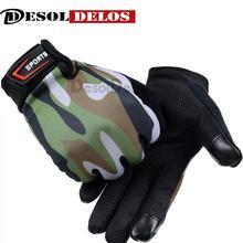 DesolDelos 2019 Men Full Finger Touch Screen Gloves Print Camo Non-slip Fitness Wrist Outdoor Sports Luvas Mittens R016