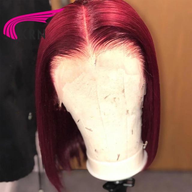 KRN Borgoña 99j 13x6 frente de encaje Peluca de cabello humano brasileño Remy pelo peluca recta con corte bob envío dentro de las 24 horas hábiles 180%