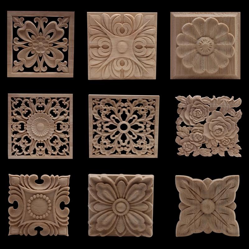 Wood Mouldings Wood Carving Door Onlay Wood Applique Wood Decal Antique Retro Modern Long Leaves Wooden Cabinet Furniture Corner