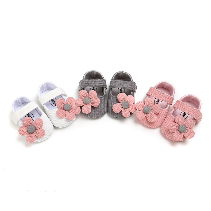 Baby First Walker Shoes Non-slip Toddler Shoes Girl For 0-1Years Old Girl Soft Soled Cotton Infant Girl Shoes With Flower