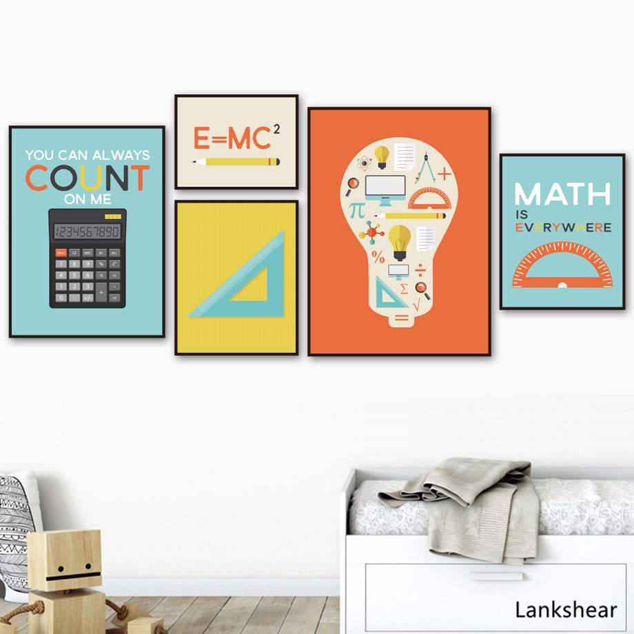 Math Rule Calculator π <font><b>Fibonacci</b></font> Prints and <font><b>Posters</b></font> Wall Art Canvas Painting Early Education Wall Pictures For Kids Room Decor image
