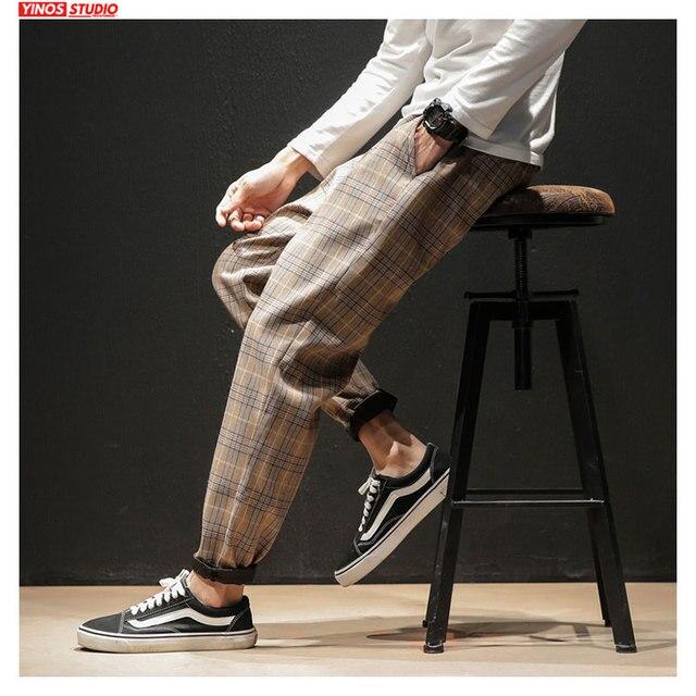 Dropshipping Japanese Streerwear Men Plaid Pants 2020 Autumn Fashion Slim Man Casual Trousers Korean Male Harem Pants 6