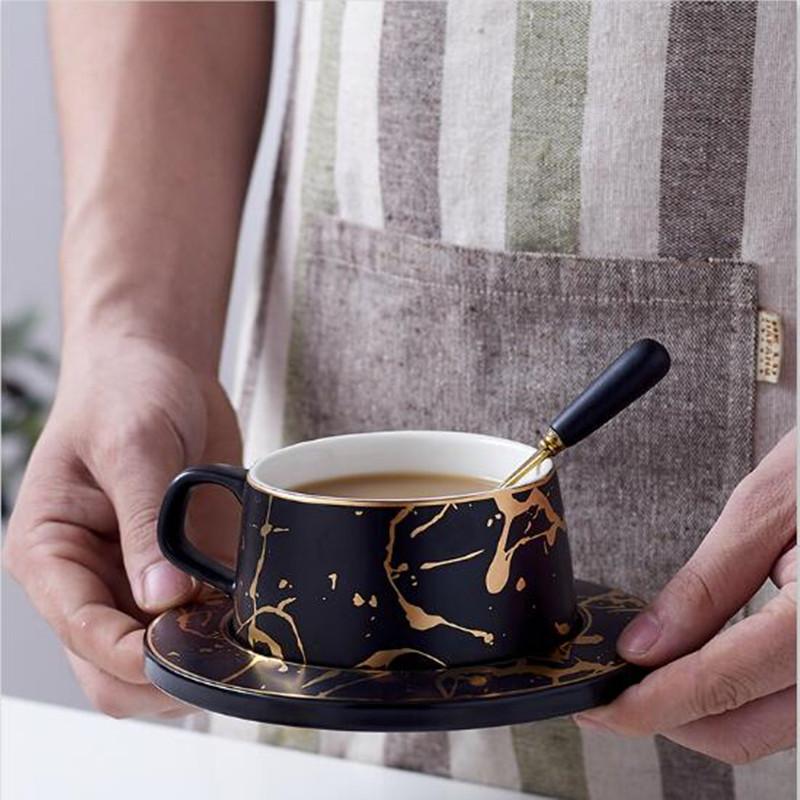 LUXURY Coffee Mug Tea Cup Ceramic Gold Marble Design Nordic Style Birthday Gift