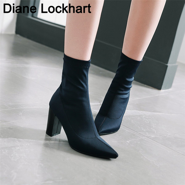 Womens Boots Pointed Toe Yarn Elastic Ankle Boots Thick Heel High Heels Shoes Woman Female Socks Boots 2019 Spring Size 34 43