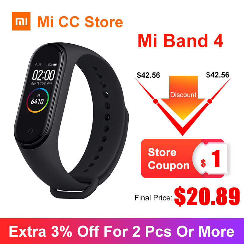 In Magazzino Xiaomi Mi Banda 4 Braccialetto 5 di Colore wristband AMOLED Schermo Frequenza Cardiaca Fitness Tracker Bluetooth5.0 Impermeabile Banda Intelligente