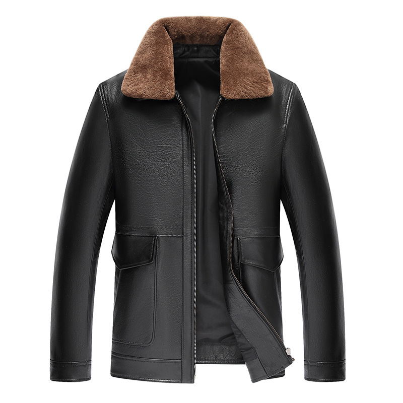 Men's Vintage Genuine Jacket Men Coat Lamb Fur Collar Cow Leather Jackets Jaqueta De Couro 12-2202 YY504