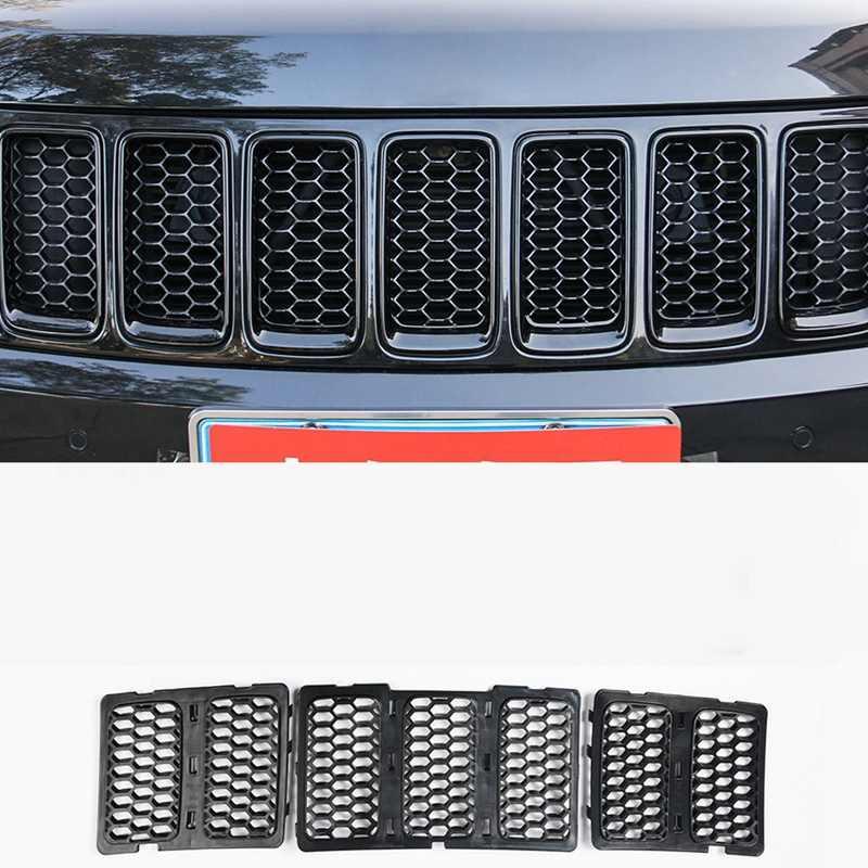 Автомобильные наклейки для Jeep Grand Cherokee 2014-2016 Передние решетки декоративная крышка сотовая сетка для Grand Cherokee аксессуары