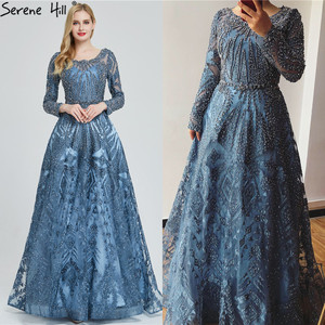 Image 3 - Dubai Luxury Long Sleeves Prom Dresses 2020 Latest Design Navy Blue O Neck Crystal Prom Gowns Serene Hill Plus Size BLA60900
